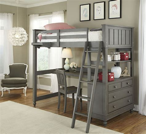 Lake House Stone Youth Loft Bedroom Set with Desk from NE