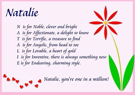 Natalie | Acrostic, Meaning of natalie, Poems about girls