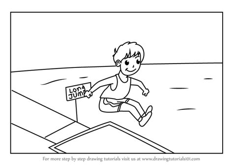 Step by Step How to Draw a Boy Long Jump Sports Scene
