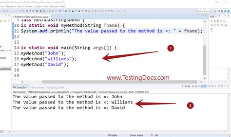 How to pass String variable to a Java method | TestingDocs