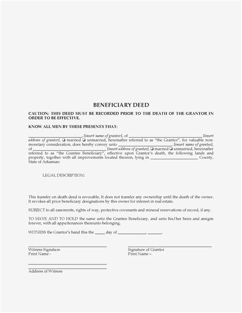 Free Printable Beneficiary Deed