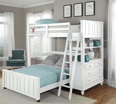 Lake House White Twin Loft Bed with Full Lower Bed from NE