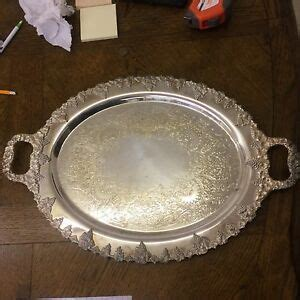 Vintage GRAPES Silver Plated Ornate Large Oval Tray with