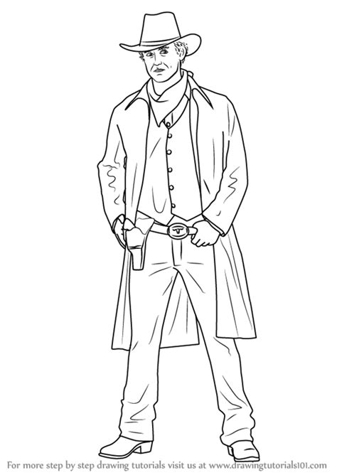 Learn How to Draw a Cowboy (Cowboys) Step by Step