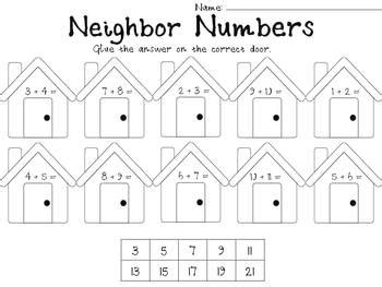 Math Addition Center ~Neighbor Numbers ~ Activities for