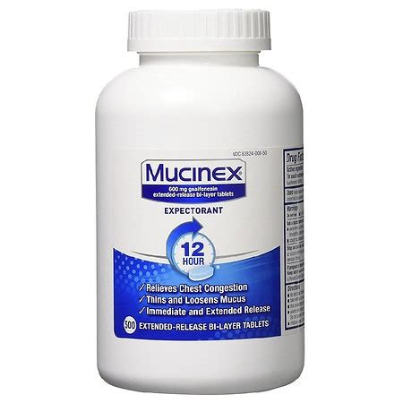 Mucinex Expectorant, 600mg, Extended-Release Bi-Layer