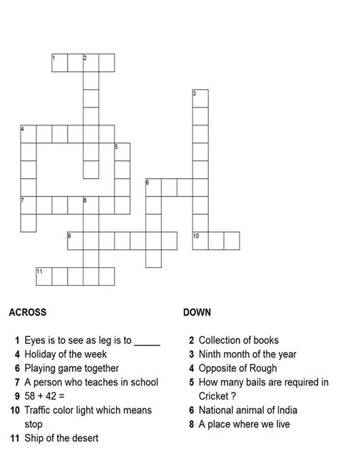 Crossword Puzzles for Children | Activity Shelter