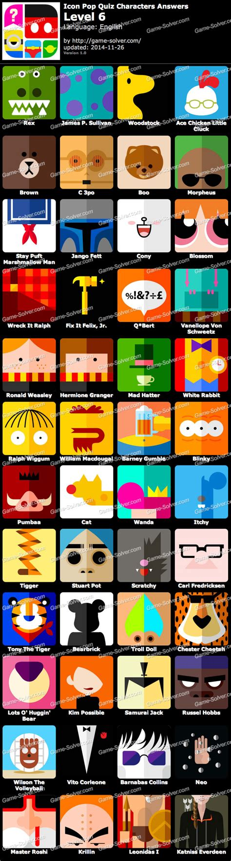 Icon Pop Quiz Characters Level 6 • Game Solver