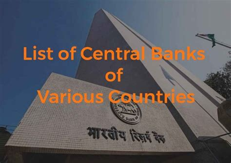 List of Central Banks of Various Countries – Bankers India