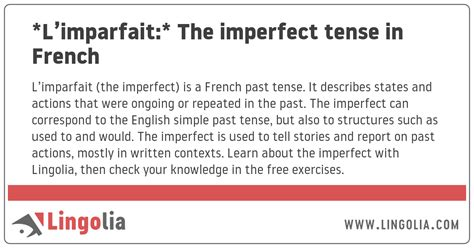 L'imparfait: The imperfect tense in French