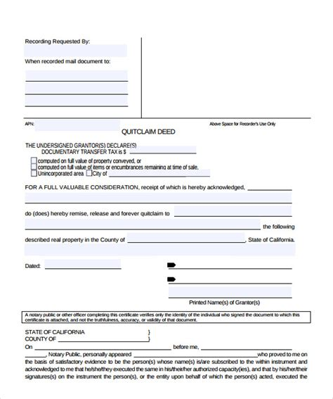 11+ Quitclaim Deed Forms – Samples, Examples & Format